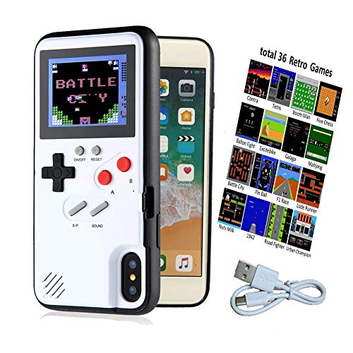 Color Display Gameboy Case with 36 Retro Games, Playable 3D iPhone Case, Handheld Game Case for iPhone 6/6S/7/8