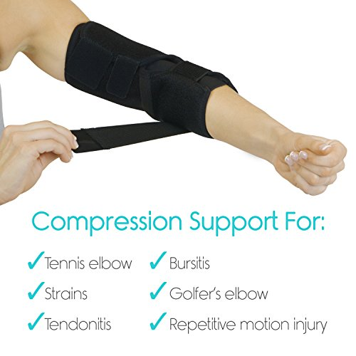 Adjustable Elbow Brace by Vive - Arm Support Strap - Tennis Elbow Splint for Pain, Sprains and Tendinitis - Joint Pain Sleeve Wrap for Ligaments, Golfers and Exercise - Arm Compression with Straps