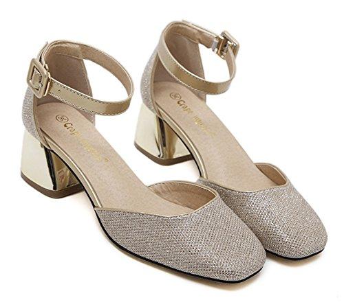 Aisun Womens Fashion Square Toe Dorsay Dressat Mitten Blocket Häl Spänne Ankelbandet Pumpar Skor Guld