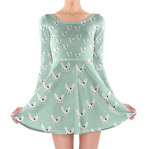 Queen of Cases - Robe - Patineuse - Manches Longues - Femme vert vert One Size