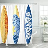Emvency 72''x72'' Shower Curtain Waterproof Blue Surf Surfboards White Yellow Board Hibiscus Sea Surfer Hawaii Wave Beach Home Decor Polyester Fabric Adjustable Hook