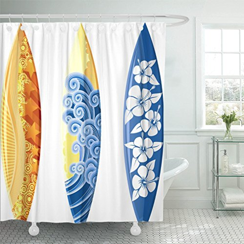 Emvency 72''x72'' Shower Curtain Waterproof Blue Surf Surfboards White Yellow Board Hibiscus Sea Surfer Hawaii Wave Beach Home Decor Polyester Fabric Adjustable Hook by Emvency