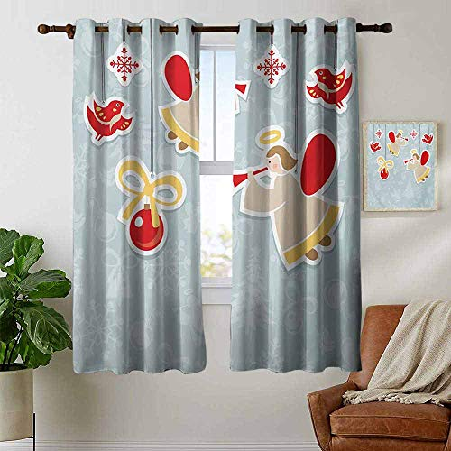 (petpany Blackout Lined Curtains Angel,Fairy Playing Trumpet Halo Spiritual Wings with Xmas Birds Balls Celebration,Red Beige Blue Grey,Thermal Insulated,Grommet Curtain Panel 1 Pair 42
