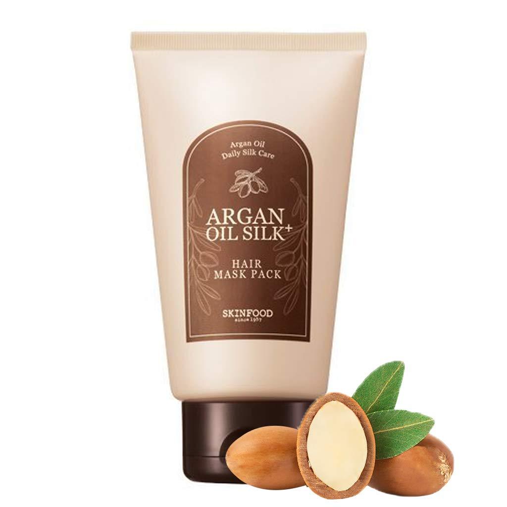 SKINFOOD Argan Oil Silk+ Hair Mask Pack 200g (7.05 oz) - Moisturizing & Nourishing Argan Oil Hair Treatment, Hair Glow & Wavy Elasticity for Damaged and Dry Hair