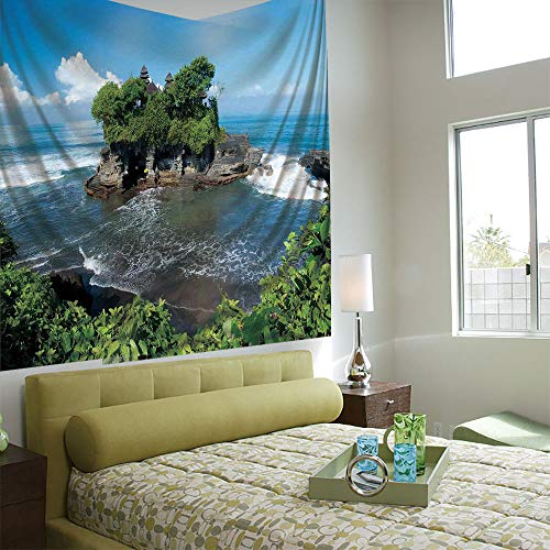 Wall Tapestry Decorative Art Prints can be Hung on The Bedside of Dormitory,Balinese Decor,Tanah Lot Temple in Bali Island Wavy Ocean Historic Architecture Heritage Picture,Green Blue