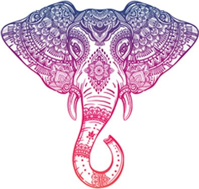 Purple Pink Ombre Henna Pattern Elephant Head Drawing Vinyl