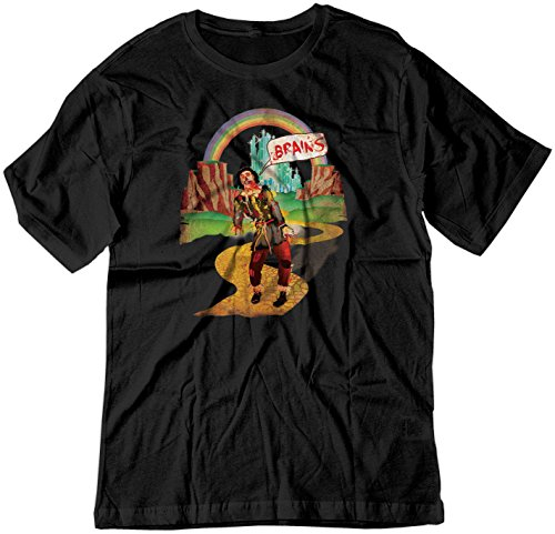 BSW Men's Brains Scarecrow The Wizard of Oz Zombie Vintage Shirt LRG Black ()
