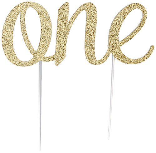 Handmade 1st Birthday Cake Topper Decoration - One - Double Sided Glitter Stock (Gold)