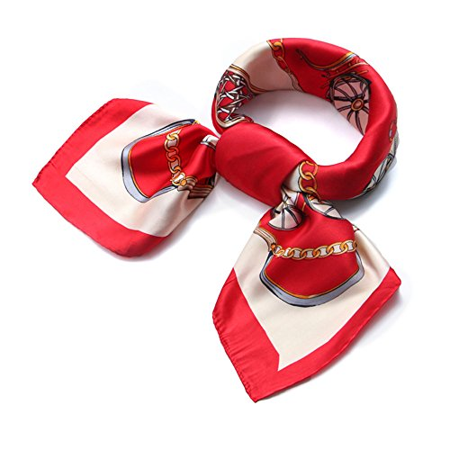 QBSM Womens Red Square Satin Silk Neck Head Hair Scarf Wraps Neckerchief