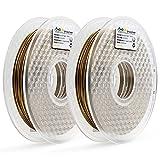 AMOLEN3DPrinterFilament,Bronzefill1.75mmPLAFilament+/-0.03mm, 1.1 LBS Spool(2 Rolls / Pack),includes SampleMarbleFilament.