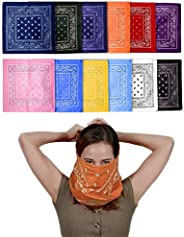 Fun Central 12 Pack Cloth Bandana | Face Mask for Dust & Sun Protection | Nose Cover Scarf - Assorted Colors
