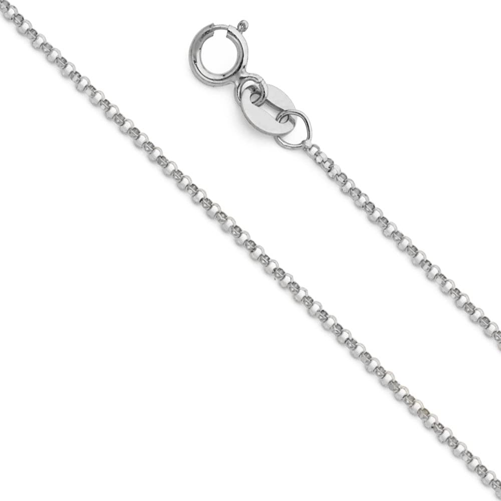 Sonia Jewels 14k White Gold Round Rolo Chain Necklace With Lobster Claw Clasp