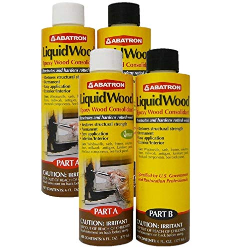 Abatron LiquidWood Kit Epoxy Wood Consolidant 6 oz each, Part A & B, Pack of 2