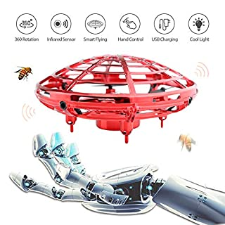 Ehihas Hand Operated Drone, Flying Toys for Kids Mini UFO Drone with 2 Speed, Great Flying Drone Gift for Boys/Girls, Flying Ball Drone Easy Indoor Outdoor Toys (Red)