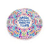 HUAMING Bohemian Letter Printed Tassel Beach Towels for Travel Cute Round Towels Summer Must Have Quick-Dry (Multicolor)