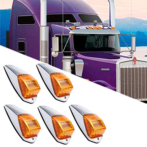 Ricoy 12V 17 LED Amber Cab Marker Clearance Roof Running Top Lights  Assembly Super Bright Chrome Cab Lights For Heavy Duty Trucks Kenworth  Peterbilt