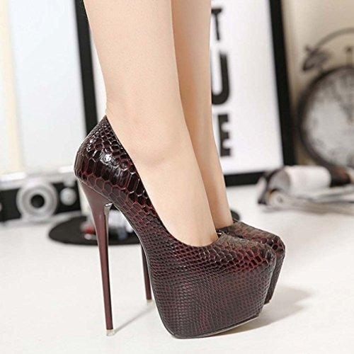 Solshine Damen Glamour Geschlossene Zehen mit Plateau High Heels Pumps Stiletto Party Weinrot