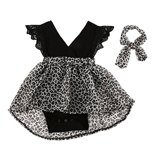 MIOIM Newborn Toddler Baby Girls Lace Embellishment Flutter Sleeves Leopard Rompers Tutu Dress - Name Brand Canada Online Shopping