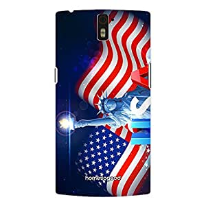 HomeSoGood Liberty Statue With Flag Multicolor 3D Mobile Case For OnePlus One (Back Cover)