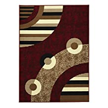 """Sweet Home Stores Modern Circles Design Area Rug, 8'2""""X9'10"""", Red"""