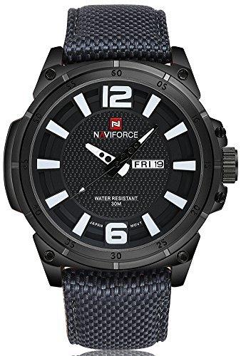 NAVIFORCE Men's Sport Watch Canvas Strap Calendar Waterproof Military Quartz Wristwatch (Black)