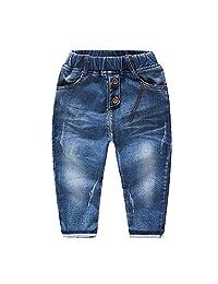 Kidscool Baby Girls Elastic Waist Classic Denim Pants Jeans
