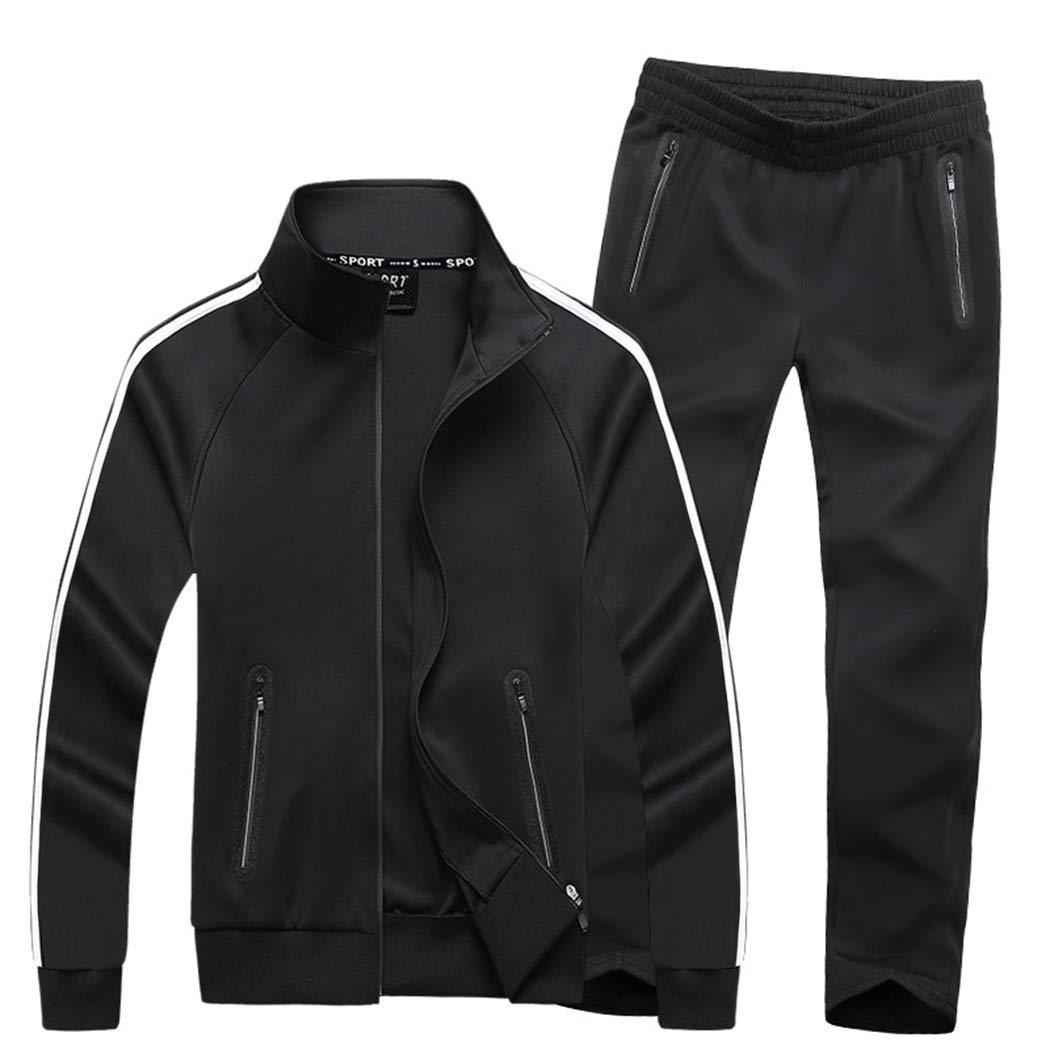 Modern Fantasy Women's Active Tracksuit Seamless Pocket Jogging Jacket & Pants Set Black L