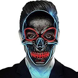 Pansonite Creepy Halloween Mask, El Wire Light Up Scary Mask for Festival Parties Costume