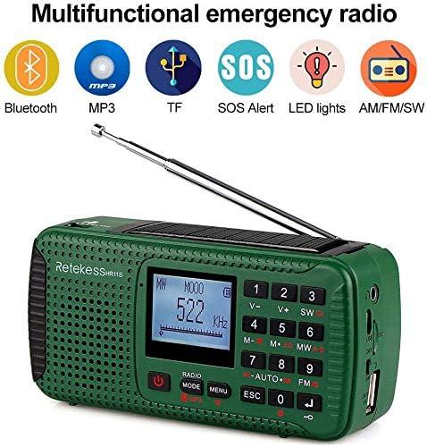 Tragbar 5V 5W Solar Kurbel AM//FM Radio TF SOS LED Taschenlampe Powerbank A