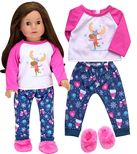 Sophia's Doll Clothes Winter PJs or Doll Pajamas for 18 inch Dolls | Teal/Pink Print Winter Doll Sleepwear Pants with Moose Print Silkscreen Tee and Slippers, Perfect for American Girl Dolls & More!