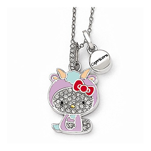 Hello Kitty Sterling Silver Crystal/Gold-tone/Enamel Capricorn Necklace