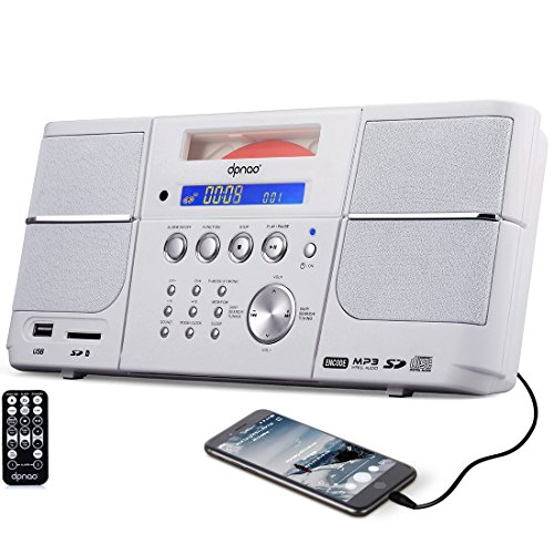 DPNAO CD Player Boombox Portable with FM Radio Alarm Clock USB SD Card AUX-in Remote Headphone Jack for Kids Home (White) ()