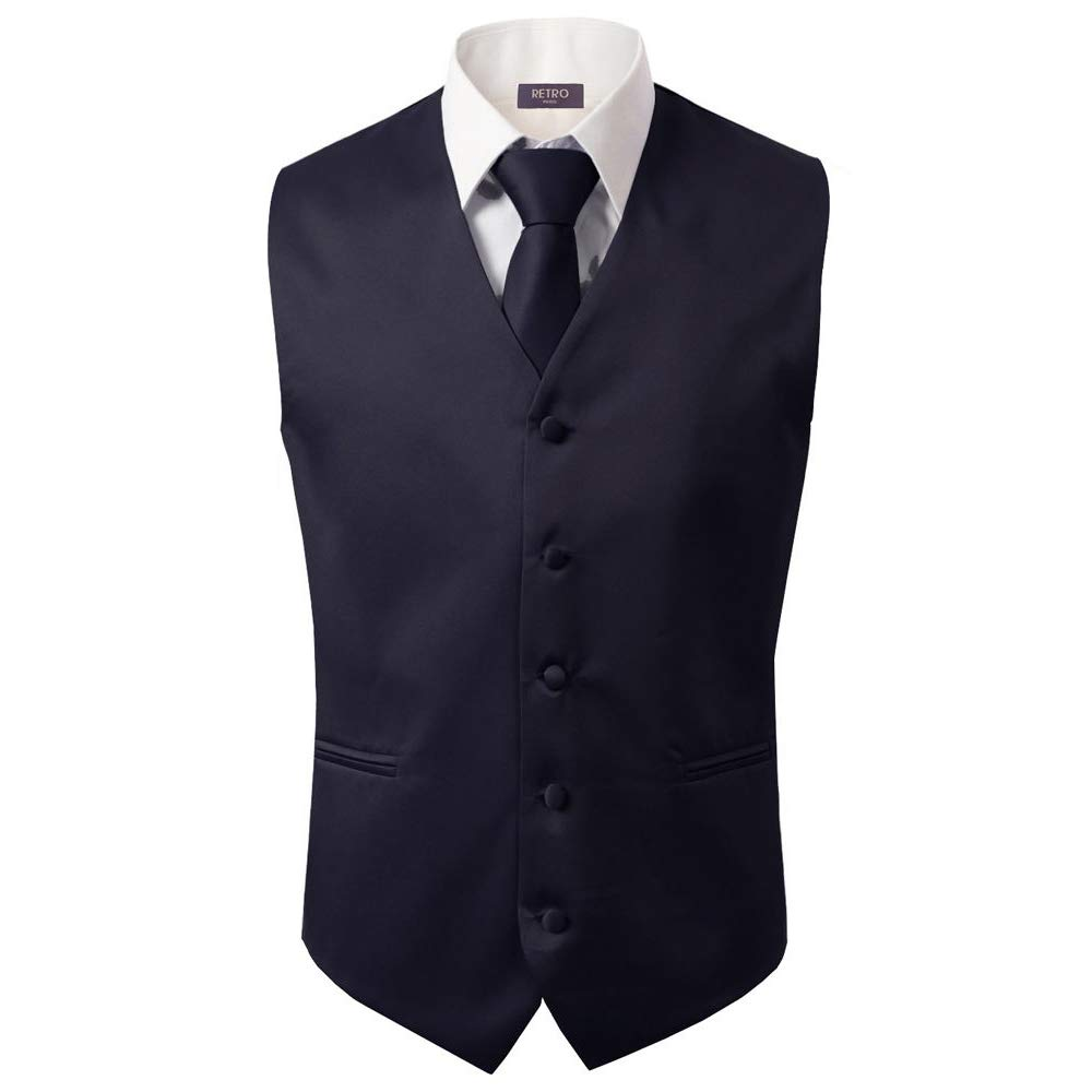 3 Pcs Vest + Tie + Hankie Men's Fashion Formal Dress Suit Slim Tuxedo Waistcoat Coat (Medium, Dark Purple)