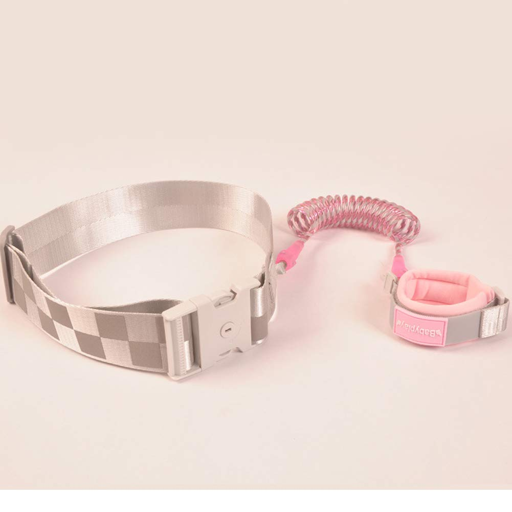 MQC Child Defense Lost with Traction Rope Baby Child Travel Anti-Lost Bracelet Anti-Lost Rope Key Lock Belt,Pink,2.5m