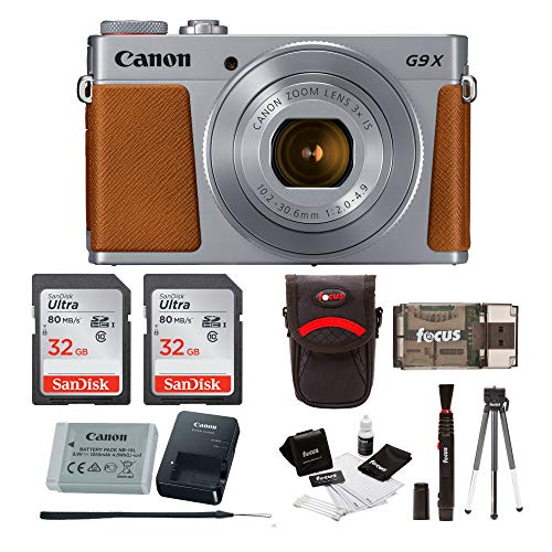 Canon Powershot G9 X Mark II Digital Camera (Silver) with 64GB Card and Bundle ()