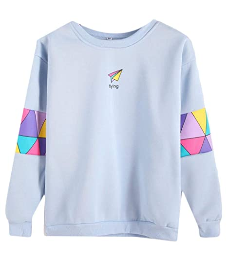 0eda2208369 Alion Women s Letter Flying Print Sweatshirt Pullovers Long Sleeve Blouse  at Amazon Women s Clothing store