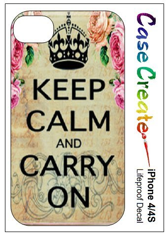 Keep Calm and Carry On Vintage Floral Decorative Sticker Decal for your iPhone 4 4S Lifeproof Case