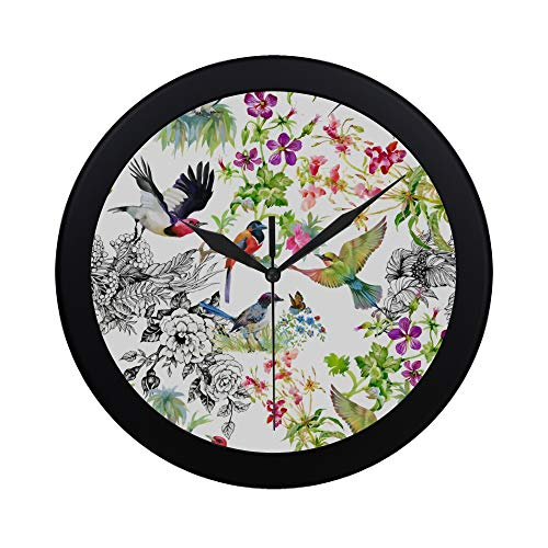 Modern Simple Folding Umbrella Flower Pattern Bird Peony Colorfu Pattern Wall Clock Indoor Non-ticking Silent Quartz Quiet Sweep Movement Wall Clcok For Office,bathroom,livingroom Decorative 9.65 Inch ()