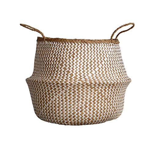 DUFMOD Small Natural and Plush Woven Seagrass Tote Belly Basket for Storage, Laundry, Picnic, Plant Pot Cover, and Beach Bag (Plush Zigzag Chevron Seagrass White, Small) ()