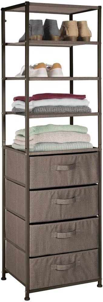 mDesign Mueble con cajones – Estantería con 4 baldas y 4 cajones de tela – Útil estantería con cajones de metal y fibra sintética para dormitorio, ...