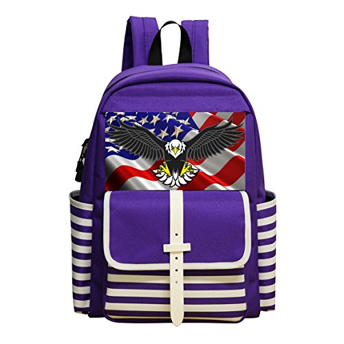 Great Volant Wing Bald eagle Shoulder Book School Backpack Bags Satchel Handbag (Old Years 10 Tawny)