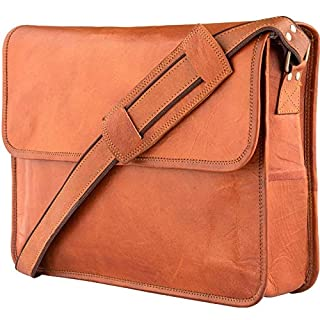 Leather Messenger Bags for Men & Women New Job for Teen Boys Laptop Shoulder Bag Office Work Executives Briefcase Cross body Fit - Flap Over Vintage Brown Satchel Bag Size 15 inch