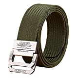 FAIRWIN Military Style Nylon Web Belt, Canvas Casual Belt D-ring Buckle Adjustable for Men ( Fit Waist Below 43