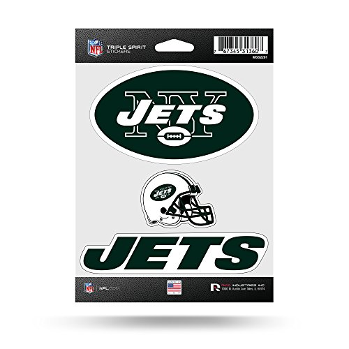 Rico Industries NFL New York Jets Die Cut 3-Piece Triple Spirit Sticker Sheet