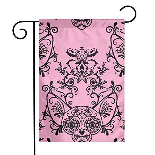 (Coore Reu Garden Flag Spring Garden Flag Spring Sugar Skull Sphynx Cat Damask Pink_6805Colourful 12 x 18 Inch Flower Yard Decor)