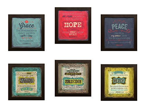 Inspirational Faith Freedom Mercy & Grace Hope Peace Bible Verses; Religious Decor; Six 12x12in Brown Framed Prints, Ready to Hang!