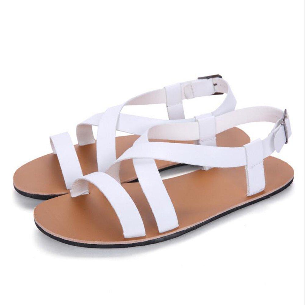GAOLIXIA Sommer Sandalen Leder Männer Casual Casual Casual Sandalen und Hausschuhe Herren Strand Schuhe schwarz weiß braun (Farbe   Weiß, Größe   39) e26bb4