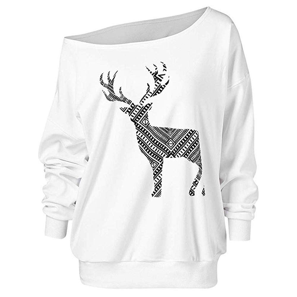FEDULK Clearance Sale Christmas Sweatshirt Off Shoulder Plus Size Pullover Loose Fit Tops Blouse(White,US Size L = Tag XL)
