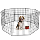 30-Black Tall Dog Playpen Crate Fence Pet Kennel Play Pen Exercise Cage -8 Panel