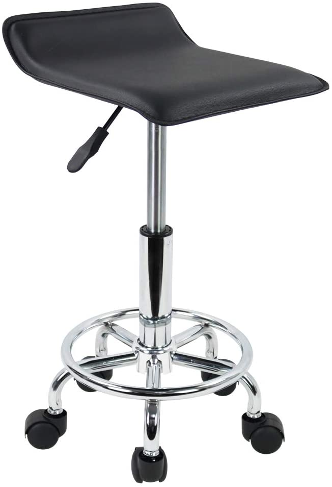 KKTONER Square Height Adjustable Rolling Stool with Foot Rest PU Leather Seat Cushion Medical Spa Drafting Salon Tattoo Work Swivel Office Stools Task Chair Small (Black)